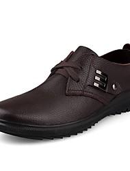 Недорогие -Для мужчин обувь Натуральная кожа Кожа Весна Осень Удобная обувь Формальная обувь Туфли на шнуровке для Повседневные Черный