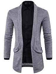 cheap -Men's Daily Casual Solid Shirt Collar Sweater Cardigan, Long Sleeves Winter Fall Polyester Spandex