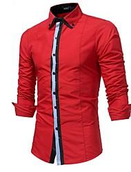 メンズ ワーク パーティー オールシーズン シャツ,カジュアル パンク&ゴシック シャツカラー カラーブロック コットン 長袖