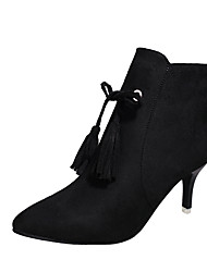 cheap -Women's Shoes Nubuck leather Suede PU Fall Comfort Fashion Boots Boots Stiletto Heel Pointed Toe Mid-Calf Boots Zipper for Casual Black