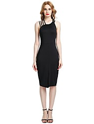 cheap -Women's Party Club Vintage Casual Sexy Bodycon Sheath Dress,Solid Strap Midi Sleeveless Rayon Polyester Spandex All Season Spring High