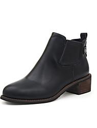 Недорогие -Жен. Обувь Дерматин Зима Весна Ботильоны Ботинки На плоской подошве Заостренный носок Ботинки Пряжки для Повседневные Черный Серый