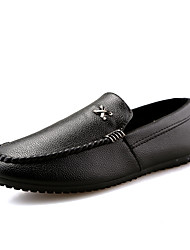 cheap -Men's Shoes PU Spring Fall Comfort Loafers & Slip-Ons Lace-up for Casual White Black