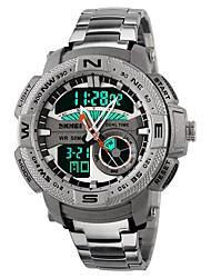 Недорогие -SKMEI Муж. Спортивные часы электронные часы Японский Цифровой Нержавеющая сталь силиконовый Черный / Белый 50 m Защита от влаги Календарь Секундомер Аналого-цифровые Роскошь На каждый день Мода -
