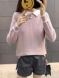 Недорогие -Жен. Однотонный Простой Вязаная ткань Пуловер, На каждый день Длинный рукав Рубашечный воротник Зима Осень
