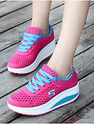 Недорогие -Для женщин Обувь Тюль Лето Осень Удобная обувь Спортивная обувь На плоской подошве Круглый носок для Повседневные Пурпурный Зеленый Синий