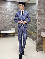 cheap -Men's Suits - Plaid Notch Lapel