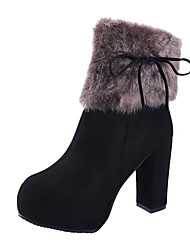 cheap -Women's Shoes Fleece Spring Fall Comfort Slouch Boots Heels Walking Shoes Stiletto Heel Round Toe Buckle for Casual Black Blue Camel
