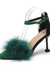 Недорогие -Жен. Обувь Лакированная кожа Весна С ремешком на лодыжке Обувь на каблуках На шпильке Заостренный носок Пряжки Черный / Серый / Зеленый