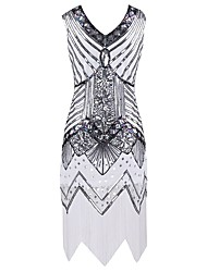 cheap -The Great Gatsby 1920s Sparkle & Shine Costume Women's Dress Cocktail Dress Masquerade Party Costume White Black Red Golden Vintage