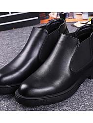 preiswerte -Herren Schuhe Leder Winter Herbst Komfort Stiefeletten Stiefel Booties / Stiefeletten für Normal Schwarz