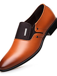 cheap -Men's Shoes Leather Spring Fall Comfort Loafers & Slip-Ons for Office & Career Party & Evening Dark Brown Light Brown Black