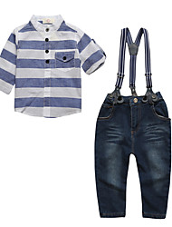 cheap -Boys' Daily Sports Striped Clothing Set, Cotton All Seasons Long Sleeves Casual Street chic Blue