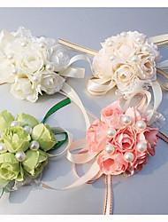 """abordables -Fleurs de mariage Petit bouquet de fleurs au poignet Mariage Occasion spéciale Soie 0.39""""(Env.1cm)"""