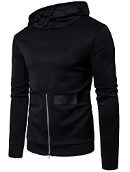 cheap -Men's Daily Casual Winter Fall T-shirt,Solid Hooded Long Sleeve Cotton Polyester Medium