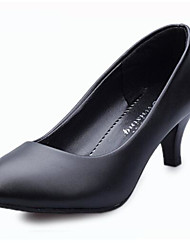 cheap -Women's Shoes PU Spring Summer Comfort Heels Kitten Heel Pointed Toe Closed Toe for Casual Black White