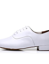 cheap -Men's Modern Shoes Patent Leather Heel Indoor Splicing Flat Heel Customizable Dance Shoes White