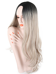 cheap -Synthetic Wig Curly Wavy Middle Part Ombre Hair Gray Black Women's Capless Halloween Wig Celebrity Wig Party Wig Natural Wigs Cosplay Wig