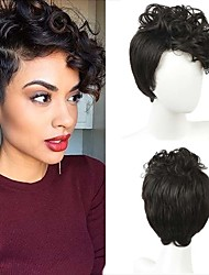 Kvinder Syntetiske parykker Kort Krøllet Bølget Sort Side del Afro-amerikansk paryk Pixie frisure Assymetrisk frisure Med bangs / pandehår