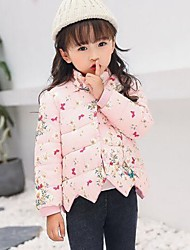 cheap -Girls' Daily Floral Down & Cotton Padded,Cotton Polyester Long Sleeves Cute Casual Light Blue Fuchsia Blushing Pink