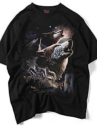 economico -T-shirt Da uomo Per uscire Punk & Gotico Estate,Animal Rotonda Cotone Maniche corte Medio spessore