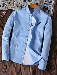 Langt Ærme Krave Herrer Trykt mønster Afslappet Daglig Skjorte,Bomuld