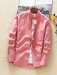 Langt Ærme Krave Solid Herrer Ensfarvet Alle årstider Afslappet Daglig Skjorte,Polyester