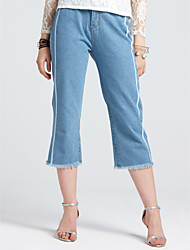 Women's High Rise Inelastic Straight Jeans Pants,Casual Solid Spring Fall