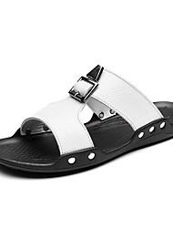 preiswerte -Herren Schuhe Leder Frühling Sommer Komfort Sandalen für Normal Weiß Schwarz
