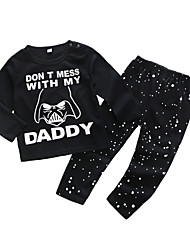 cheap -Baby Boys' Daily Print Clothing Set, Cotton Spring Casual Long Sleeves Black