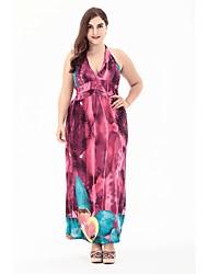 baratos -Mulheres Praia Boho Evasê balanço Vestido Floral Decote V Cintura Alta Longo