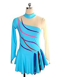 cheap -Figure Skating Dress Women's Girls' Ice Skating Dress Sky Blue Spandex Inelastic Performance Practise Skating Wear Solid Long Sleeves Ice