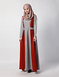 baratos -Etnico e Religioso Vestido Kaftan Abaya Vestido árabe Mulheres Festival / Celebração Trajes da Noite das Bruxas Vermelho Verde Azul