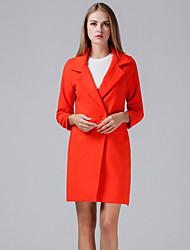 economico -Cappotto Standard Per donna Quotidiano Vintage Inverno Autunno, Tinta unita A V Poliestere Con perline