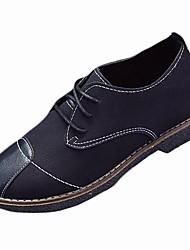 Feminino Sapatos Couro Ecológico Inverno Outono Conforto Oxfords Salto Baixo Ponta Redonda para Casual Preto Verde