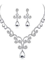 abordables -Femme Zircon / Strass Zircon / Plaqué argent Goutte Ensemble de bijoux 1 Collier / Boucles d'oreille - Elégant / Habillement Forme