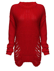 cheap -Women's Holiday Club Long Pullover,Solid Round Neck Long Sleeve Polyester Winter Fall Thick strenchy