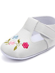 cheap -Girls' Shoes Leatherette Spring / Fall Comfort / First Walkers / Crib Shoes Flats Appliques / Magic Tape for White / Black / Fuchsia