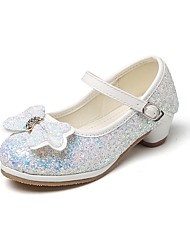 cheap -Girls' Shoes Glitter Spring / Fall Comfort / Flower Girl Shoes / Tiny Heels for Teens Heels Rhinestone / Bowknot / Magic Tape for Silver