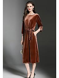 Dámské Jednoduchý Běžné/Denní Pouzdro Šaty Jednobarevné,Dlouhé rukávy Kulatý Délka ke kolenům Polyester Zima Podzim Mid Rise Lehce