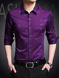 billige Nyheter-Bomull Skjorte Trykt mønster Chinoiserie Herre