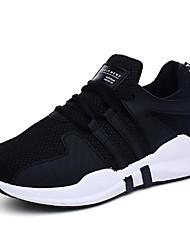 Недорогие -Жен. Тюль Осень Удобная обувь Спортивная обувь На плоской подошве Круглый носок Белый / Черный