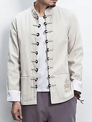 メンズ お出かけ カジュアル/普段着 冬 秋 ジャケット,ストリートファッション ラウンドネック ソリッド レギュラー コットン リネン 長袖
