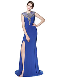 cheap -Mermaid / Trumpet Jewel Neck Court Train Linen Prom Formal Evening Dress with Beading Appliques by Sarahbridal