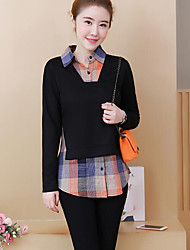 cheap -Women's Plus Size Casual/Daily Hoodie & Sweatshirt Color Block Check Shirt Collar Micro-elastic Cotton Acrylic Long Sleeve Winter Fall