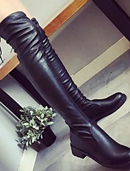 cheap -Women's Shoes PU Spring Fall Comfort Fashion Boots Boots Block Heel Over The Knee Boots for Casual Black