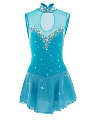 cheap -Figure Skating Dress Women's Girls' Ice Skating Dress LightBlue Spandex Athletic Skating Wear Handmade Jeweled Rhinestone Sleeveless