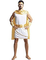 cheap -Athena Ancient Greek Costume Men's Costume White+Yellow Vintage Cosplay Terylene Sleeveless Cap Knee Length