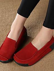 Недорогие -Жен. Обувь Полиуретан Весна Осень Удобная обувь Мокасины и Свитер На плоской подошве Закрытый мыс для Черный Серый Красный Синий