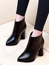 Feminino Sapatos Couro Ecológico Inverno Outono Coturnos Botas Salto Robusto Dedo Apontado Botas Curtas / Ankle para Casual Preto